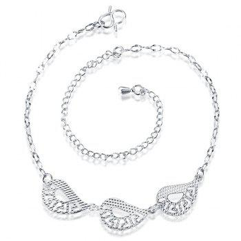 Delicate Hollow Out Teardrop Geometric Anklet For Women - SILVER