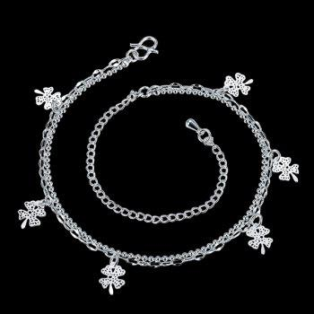 Delicate Solid Color Four Leaf Clover Charm Anklet For Women - SILVER SILVER