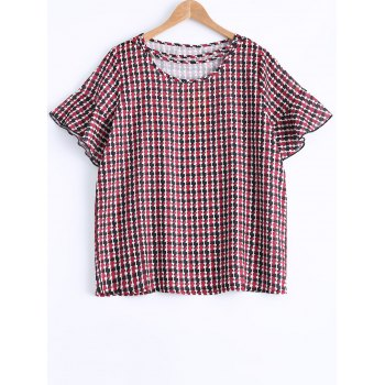 Oversized Sweet Houndstooth Print Flounced Sleeve Blouse - RED XL