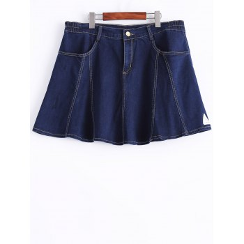 Plus Size Chic A-Line Front Pocket Skirt