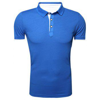 Classic Turn-Down Collar Short Sleeves Polo T-Shirt For Men