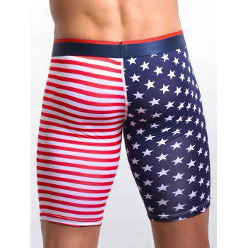 U Pouch Design American Flag Print Fitted Shorts - RED XL