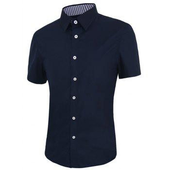 Men's Solid Color Turn-down Collar Short Sleeves Shirt
