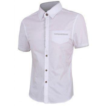 Personality Button Fly Men's Shirt Collar Short Sleeves Shirt