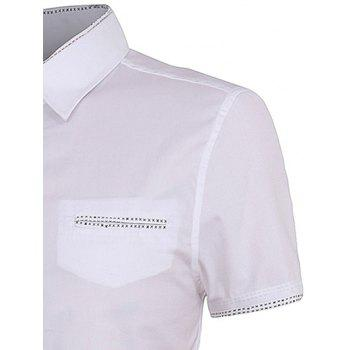 Personality Button Fly Men's Shirt Collar Short Sleeves Shirt - WHITE XL