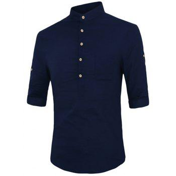 Single-Breasted One Pocket Men's Stand Collar Half Sleeves Shirt