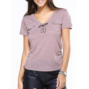 V-Neck Lace-Up Short Sleeve T-Shirt