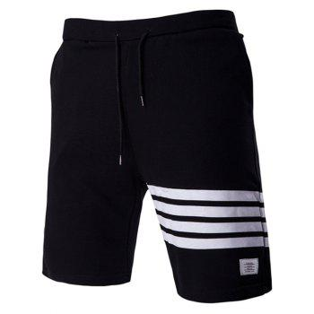 Stripes Design Drawstring Waistband Casual Shorts For Men