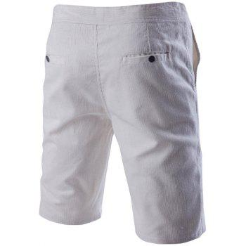Novelty Drawstring Waistband Design Corduroy Shorts For Men - WHITE 3XL
