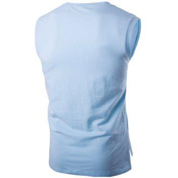 Classic Letter Printed Round Neck High-Low Tank Top For Men - LIGHT BLUE XL