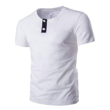 Classic Round Neck Button Design Short Sleeves T-Shirt For Men