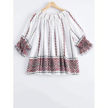 Stylish Women's Print Off-The-Shoulder Puff Sleeve Blouse