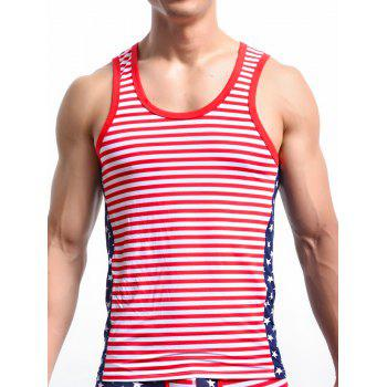 Stripe and Star Print Round Neck Men's Tank Top