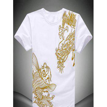Fish Chinese Dragon Embroidered Short Sleeve Men's T-Shirt