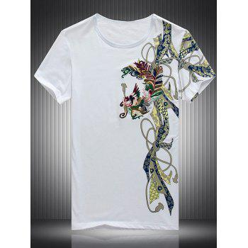 Buy Embroidered Printed Round Neck Short Sleeve Men's T-Shirt WHITE