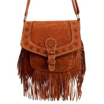 Ethnic Style Buckle and Engraving Design Women's Crossbody Bag - BROWN BROWN