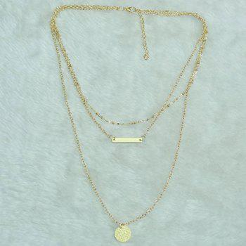 Vintage Hammered Disc Bar Layered Necklace
