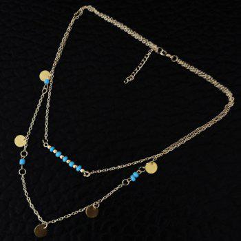 Bohemia Style Faux Turquoise Bead Disc Layered Necklace - GOLDEN