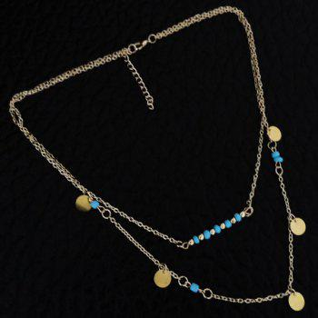 Bohemia Style Faux Turquoise Bead Disc Layered Necklace