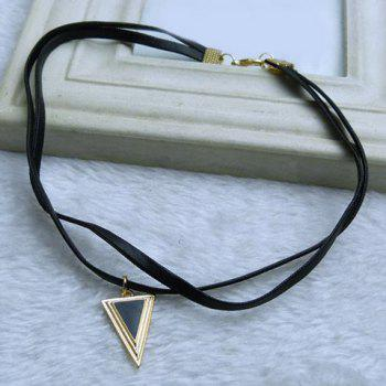 Vintage Faux Gem Triangle Layered Choker Necklace - BLACK