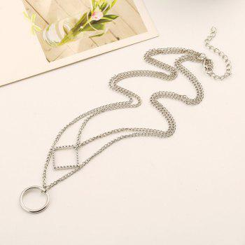 Square Circle Multilayer Pendant Necklace