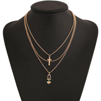 Vintage Heart Cross Layered Pendant Necklace