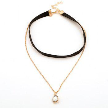 Vintage Faux Crystal Layered Choker Necklace - BLACK
