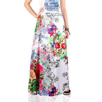 Ethnic Style Floral Print Skirt