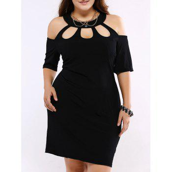 Plus Size Alluring Cut Out Black Sheath Dress