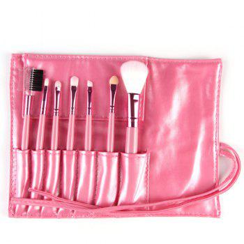 Professional 7 Pcs Nylon Face Eye Lip Makeup Brushes Set with Brush Package - PINK
