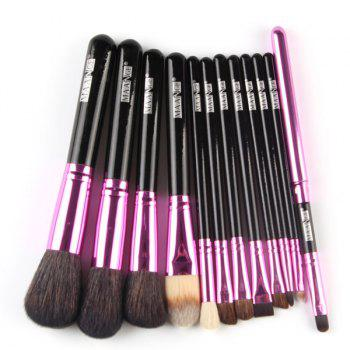 Professional 12 Pcs Goat Hair Pony Hair Face Eye Lip Makeup Brushes Set with Brush Holder - BLACK