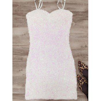 Mini Bodycon Slip Sequins Dress - WHITE WHITE