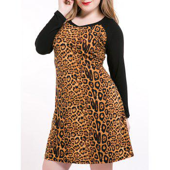 Plus Size Long Sleeve Leopard Print Sheath Dress