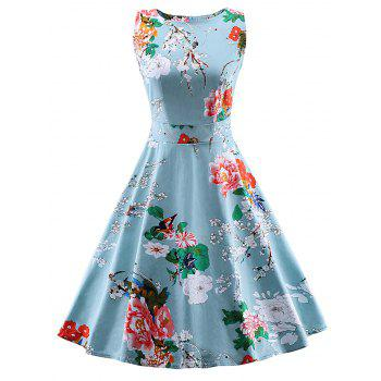 Vintage Tie Back Floral Print Swing Tea Dress