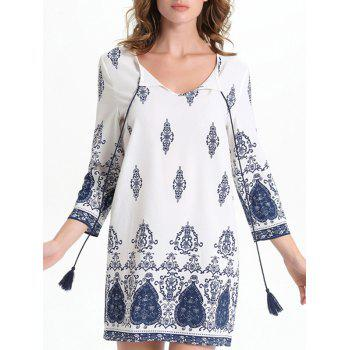 Bell Sleeve Cut Out Print Crochet Trim Peasant Dress - WHITE 2XL