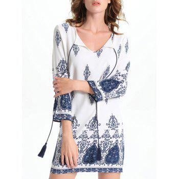 Bell Sleeve Cut Out Print Crochet Trim Peasant Dress