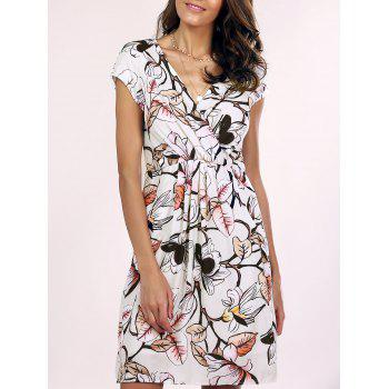 Trendy V-Neck Floral Wrap Dress For Women