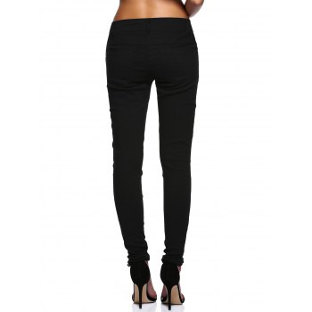 Stylish See-Through Beaded Lace Denim Pants For Women - S S