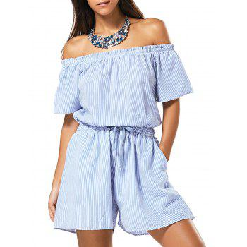 Off Shoulder Drawstring Striped Romper