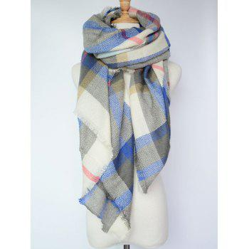 Stylish Tartan Pattern Large Square Shawl Scarf - SAPPHIRE BLUE