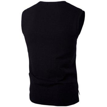 Classique Lettre Imprimé col rond High-Low Tank Top For Men - Noir 2XL
