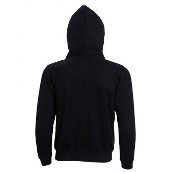 Hooded Long Sleeve Solid Color Zip-Up Men's Hoodie - BLACK XL