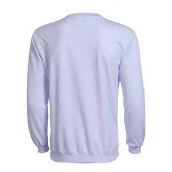Rib Splicing Long Sleeve Solid Color Men's Sweatshirt - WHITE 2XL