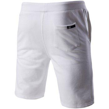 Letter Embroidered Drawstring Waistband Shorts For Men - WHITE M