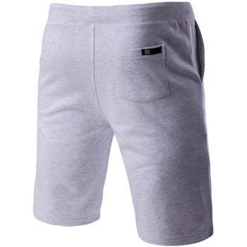 Letter Embroidered Drawstring Waistband Shorts For Men - GRAY M