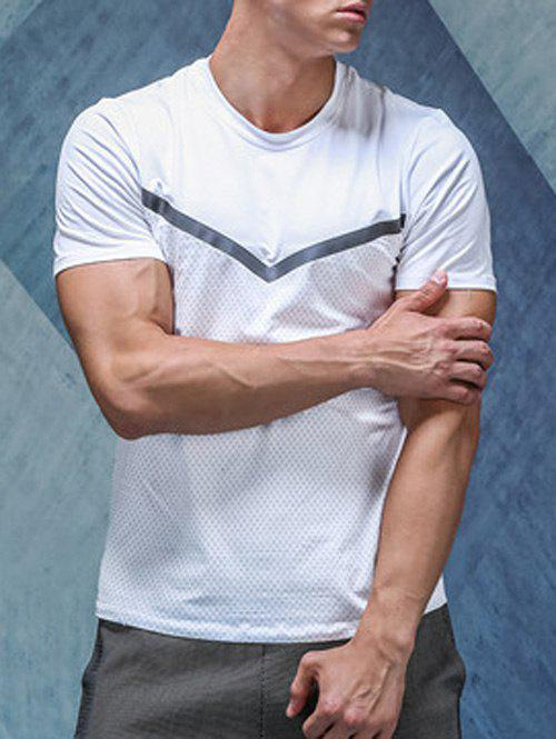 Quick-Dry Holes Design Linellae Round Neck Short Sleeve Men's T-Shirt - WHITE S