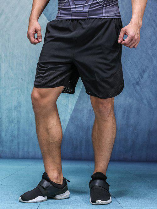 Quick-Dry Holes Design Splicing Elastic Waist Straight Leg Men's Shorts - BLACK 2XL
