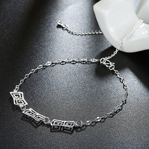 Filigree Geometric Bowknot Charm Anklet - SILVER