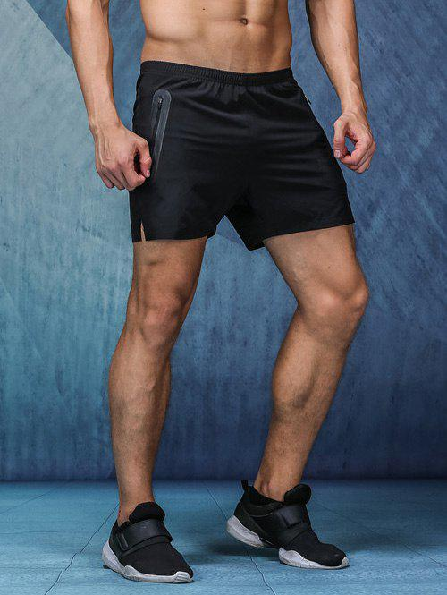 Quick-Dry Zipper Design Pockets Elastic Waist Straight Leg Men's Shorts - BLACK XL