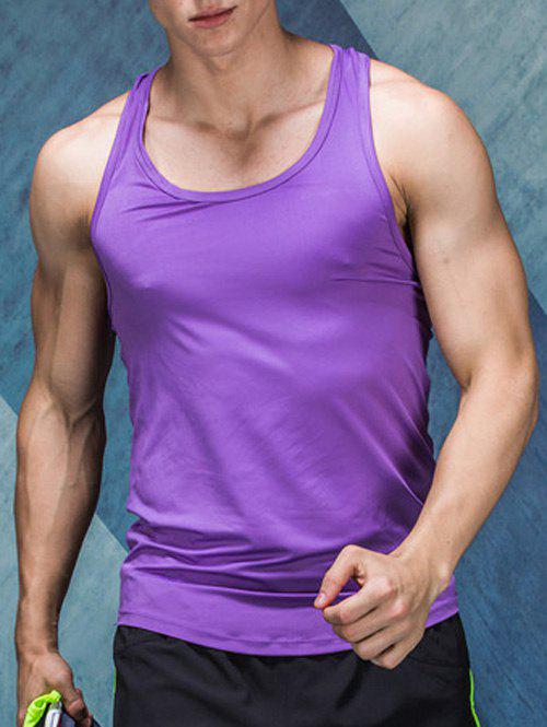Back Geometric Print Quick-Dry Round Neck Fitted Men's Tank Top - PURPLE M